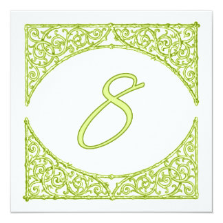 Green Wood Screen Table Number 8 13 Cm X 13 Cm Square Invitation Card