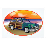 Green Woodie & Surfboard at Sunset 13 Cm X 18 Cm Invitation Card