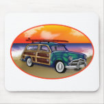 Green Woodie & Surfboard at Sunset Mouse Mats