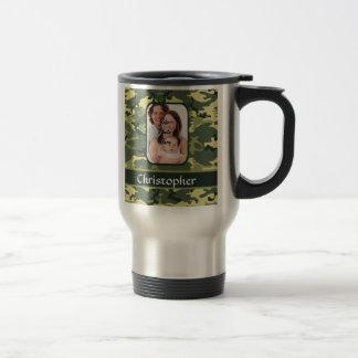 Green woodland camouflage stainless steel travel mug