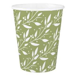 Green Woodland Forest Baby Shower Paper Cups