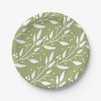 Green Woodland Forest Baby Shower Plates 7 Inch Paper Plate