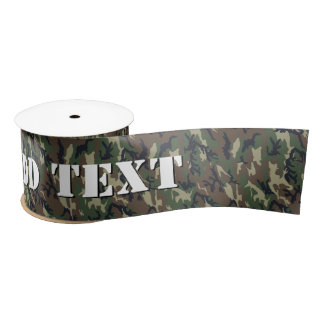 Green Woodland Military Camouflage Pattern Satin Ribbon