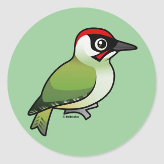 Green Woodpecker Classic Round Sticker