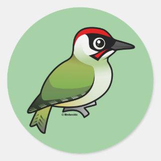 Green Woodpecker Round Sticker