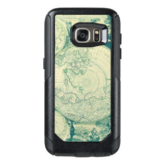 Green World Aged Map Black Burnt OtterBox Samsung Galaxy S7 Case