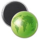Green World Globe Refrigerator Magnets