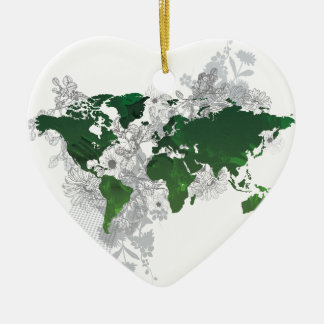 Green World Map Digital Art Ceramic Heart Decoration