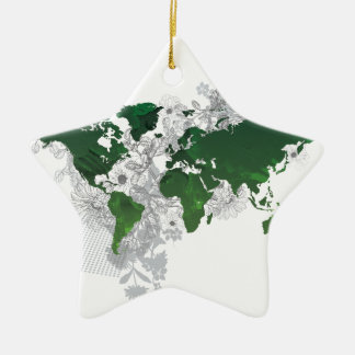 Green World Map Digital Art Ceramic Star Decoration