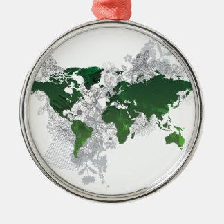 Green World Map Digital Art Christmas Ornament