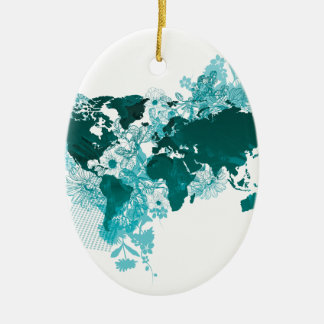 Green World Map Digital Art in Teal/ Turquoise Ceramic Oval Decoration