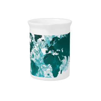 Green World Map Digital Art in Teal/ Turquoise Pitcher