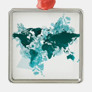 Green World Map Digital Art in Teal/ Turquoise Silver-Colored Square Decoration