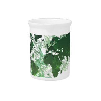 Green World Map Digital Art Pitcher
