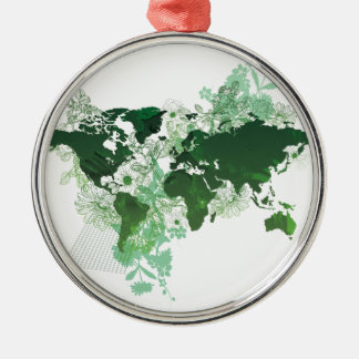 Green World Map Digital Art Silver-Colored Round Decoration