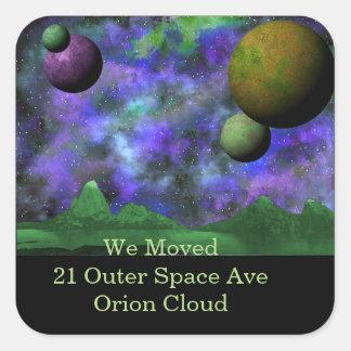 Green World Space Scene Square Sticker