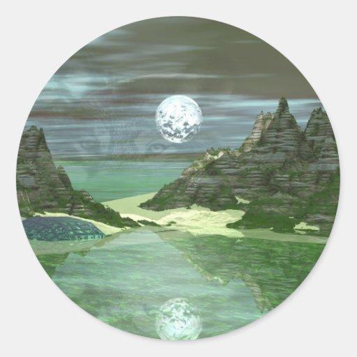 Green World Wolf Round Sticker