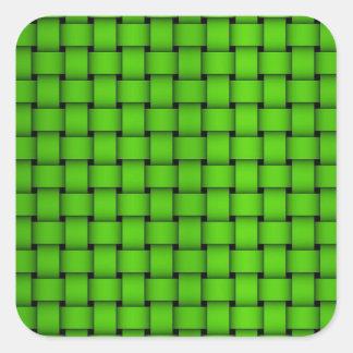 Green Woven Pattern Square Sticker