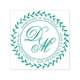 Green Wreath & Calligraphy Initials Return Address Self-inking Stamp