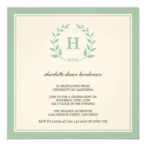 Green wreath monogram graduation class invitation 13 cm x 13 cm square invitation card