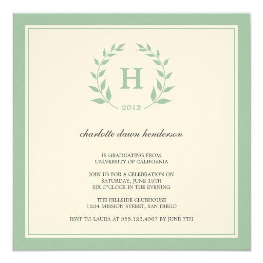 Green wreath monogram graduation class invitation
