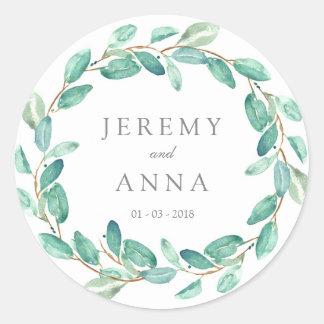 Green wreath wedding sticker - leaves