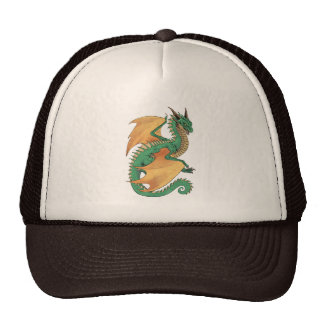 Green wyvern dragon peach wings cap