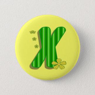 Green X Monogram 6 Cm Round Badge