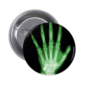 Green X-ray Skeleton Hand 6 Cm Round Badge