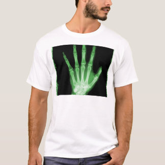 Green X-ray Skeleton Hand T-Shirt