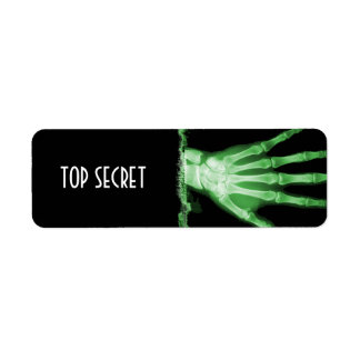 Green X-ray Skeleton Hand TOP SECRET Labels