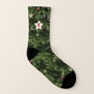 Green Xmas Tree Star Monogram Christmas Socks 1