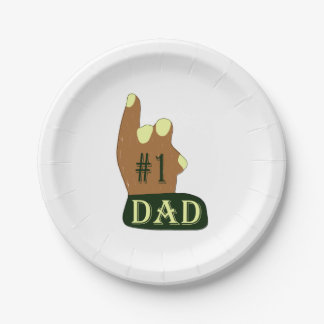 Green Yellow #1 Dad 7 Inch Paper Plate