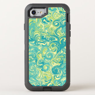 Green Yellow and Aqua Swirled Marble Paper OtterBox Defender iPhone 8/7 Case