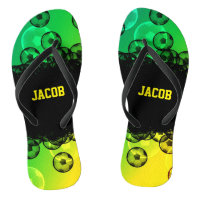 Green, Yellow, and Black Soccer Flip Flops