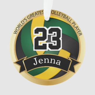 Green, Yellow and Black Volleyball | DIY Text Ornament