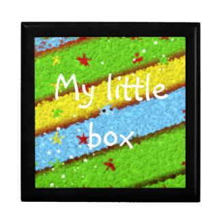 Green, Yellow and Blue Pattern with Stars Large Square Gift Box