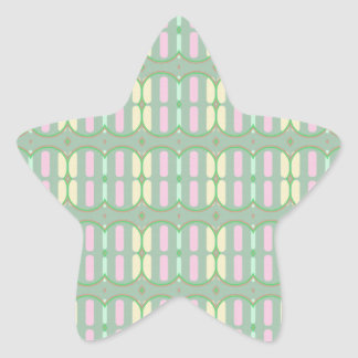 Green Yellow and Pink Pattern Star Sticker