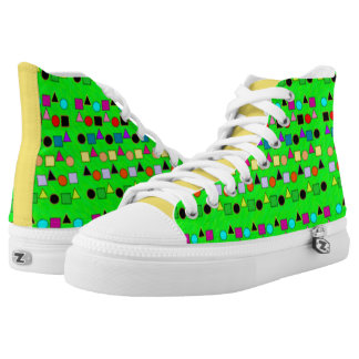 Green Yellow and Shapes Pattern Shoes