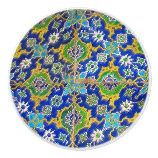Green Yellow Antique Iznik Glaze Tile Ottoman Era Ceramic Knob
