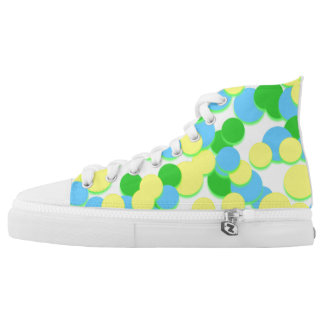 Green Yellow Big Circle Dot Spot High Top Shoes Printed Shoes
