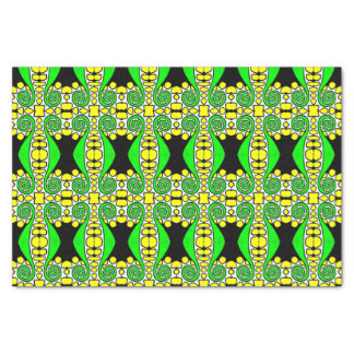 Green Yellow Black Swirl Tissue Paper | Geometric