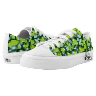 Green Yellow Blue Teal Mosaic Pattern Printed Shoes