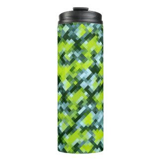 Green Yellow Blue Teal Mosaic Pattern Thermal Tumbler