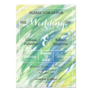 Green Yellow Blue Watercolor - Wedding Invitation