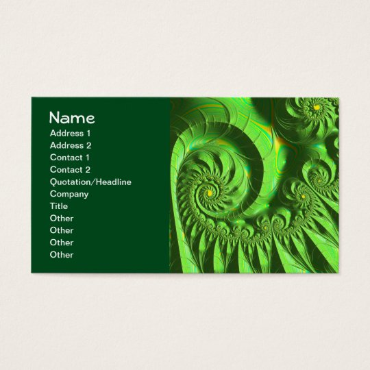 Green Yellow Brago-Mitchell Fine Fractal Art Business Card