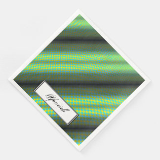 Green & Yellow Checkered Tubes by Kenneth Yoncich Disposable Napkins