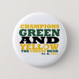 Green & Yellow (Cheese head) 6 Cm Round Badge
