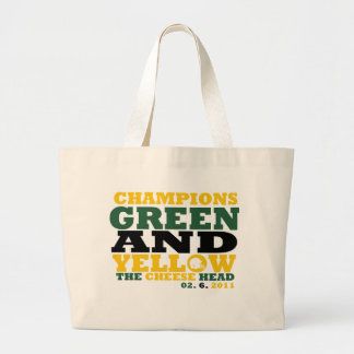 Green & Yellow (Cheese head) Large Tote Bag