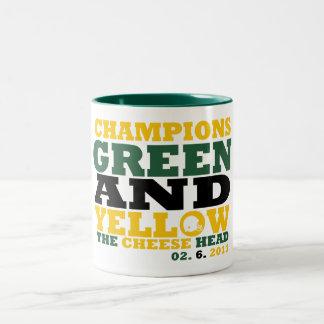 Green & Yellow (Cheese head) Coffee Mugs